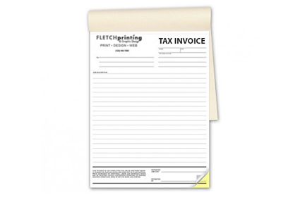 Printed NCR Tax Invoice And Quote Carbon Copy Books Fletch - Personalised carbon copy invoice books